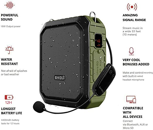 Coaches Wireless Voice Amplifier with UHF Microphone Headset 15W ...