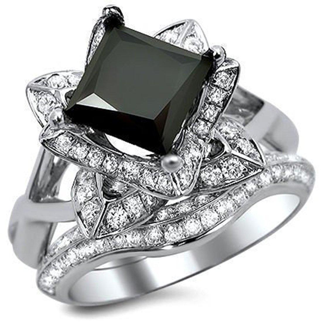 Smjewels 2.5Ct Black Princess Cut Lotus Flower CZ Diamond Engagement Ring Set In White Gold Fn