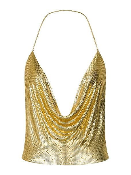 43b7d8a2752a5d Withchic Backless Clubwear Gold Halter Plunge Chain Mail Crop Cami ...