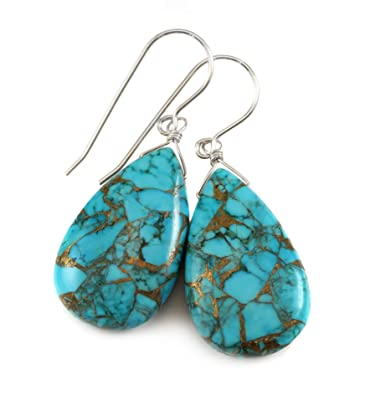 10e4f48bc Amazon.com: Sterling Silver Blue Turquoise Earrings Coppery Mosaic Veining  Large Fat Long Smooth Simple Teardrops: Jewelry