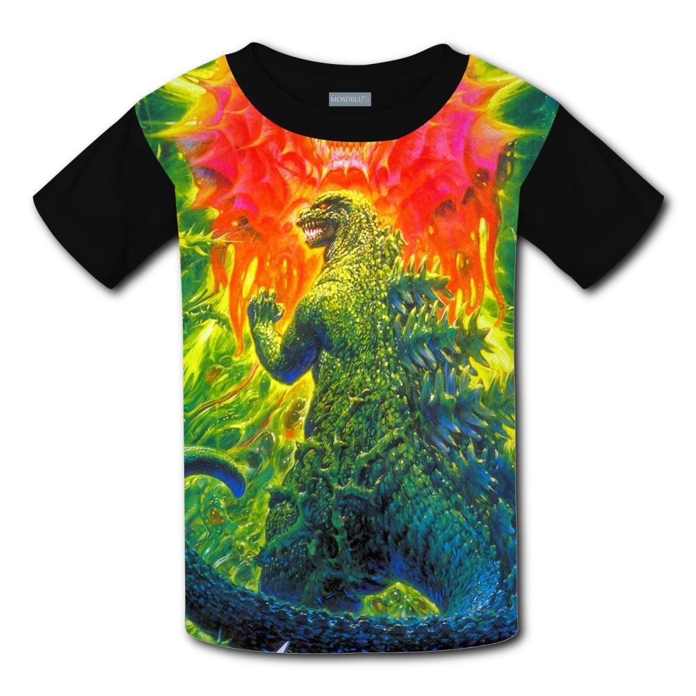 XiuHongShangMAo Unisex Kids Godzilla 3D Printed Round Collar Short Sleeve T Shirt