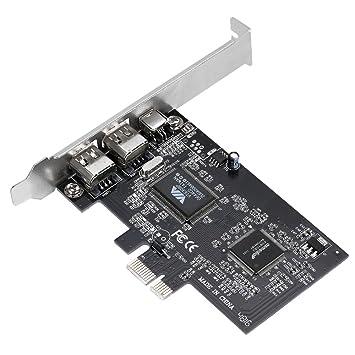 KKmoon Tarjeta de Expansión PCI-E 3 Ports 1394a 1394b Firewire Tarjeta Controladora PCI-Express (2 * 6 Pin + 1 * 4 Pin) para PC de Escritorio