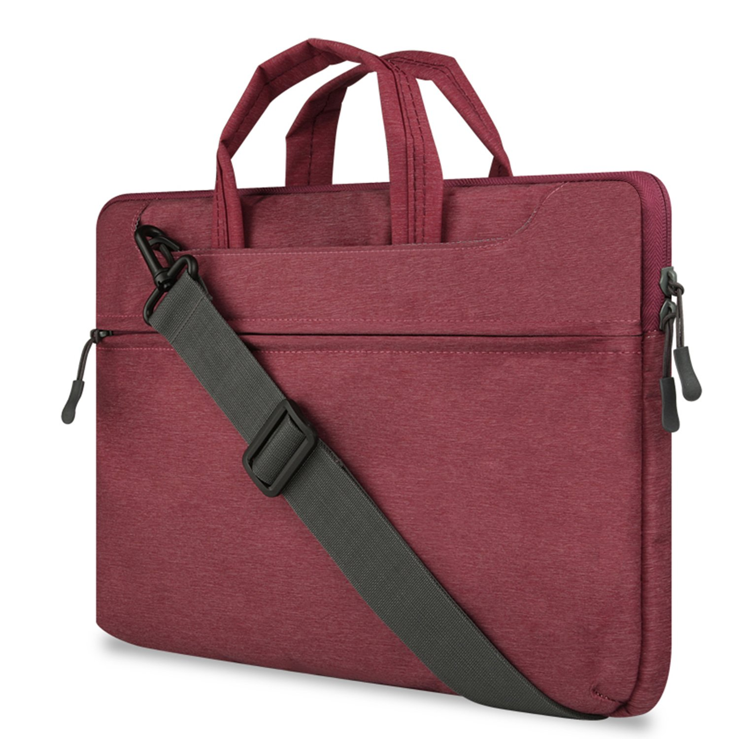 14-15.6 inch Laptop Sleeve Case Protective Bag for 15'' MacBook Pro 2016, Ultrabook Notebook Carrying Case Handbag for 14'' 15'' Lenovo Dell HP Toshiba Chromebook Computers Burgundy