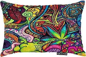 Nicokee Throw Pillow Cover Fantasy Trippy Abstract Art Decorative Pillow Case Home Decor 20x12 Inches Pillowcase