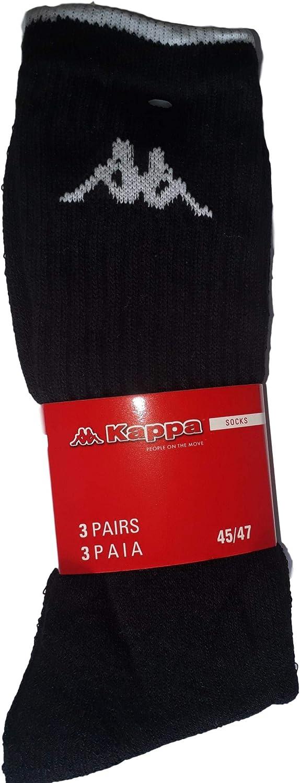 Kappa Lot de 6 paires de chaussettes de sport en /éponge 45-47, 6 paires noires chaussettes de randonn/ée pour homme et femme diff/érents assortiments hauteur mi-mollet chaussettes de tennis