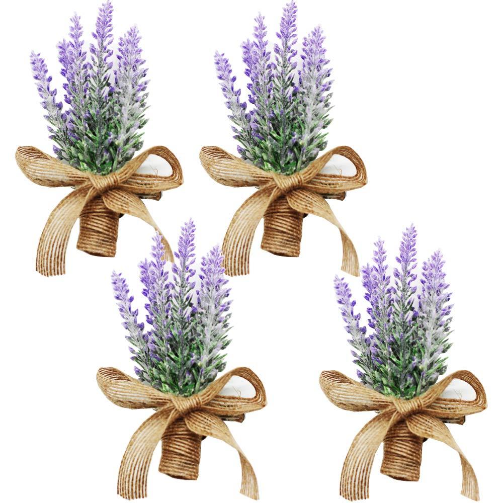 Yokoke人工ラベンダー花ブートニアブーケコサージュリストレット4個ほぼ天然Fakeパープル植物と麻弓のウェディングの装飾 B07C3MZB97