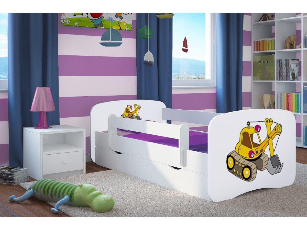CARELLIA Cama infantil Pelleteuse 80 cm x 160 cm con Barriere Zapatillas de + somier + cajones incluye colchón. – Color blanco