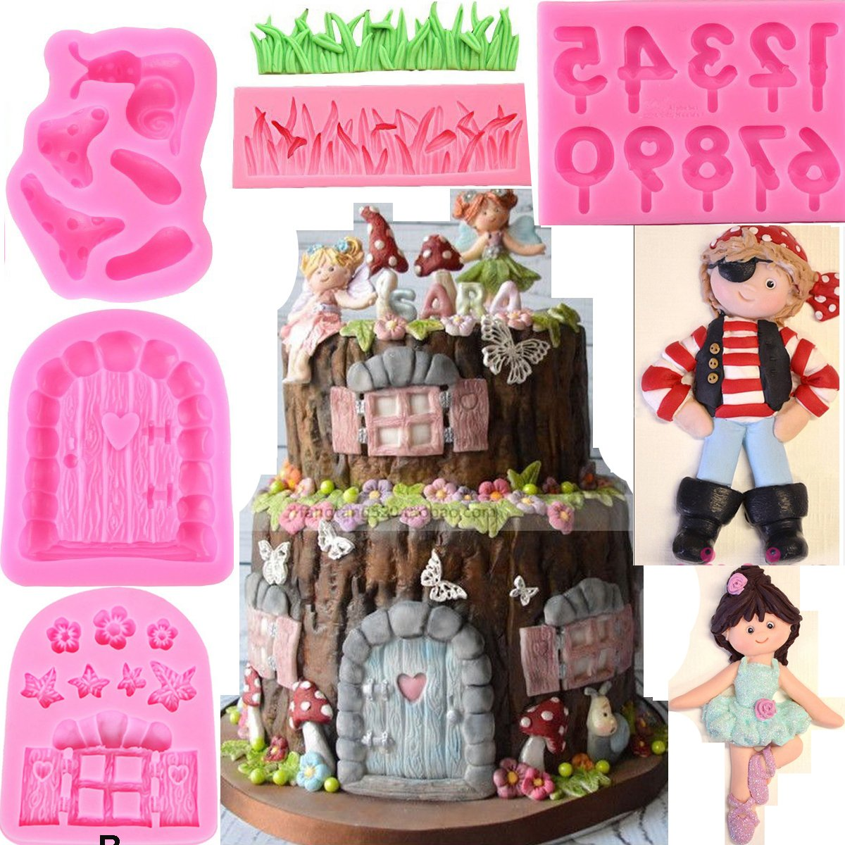 Anyana gnome mold fairy girl Silicone Cupcake Baking Molds forest party Fondant molds primate boy Cake Decorating Tools Gumpaste snail grass Chocolate Candy Clay Moulds Non stick easy to use set of 7