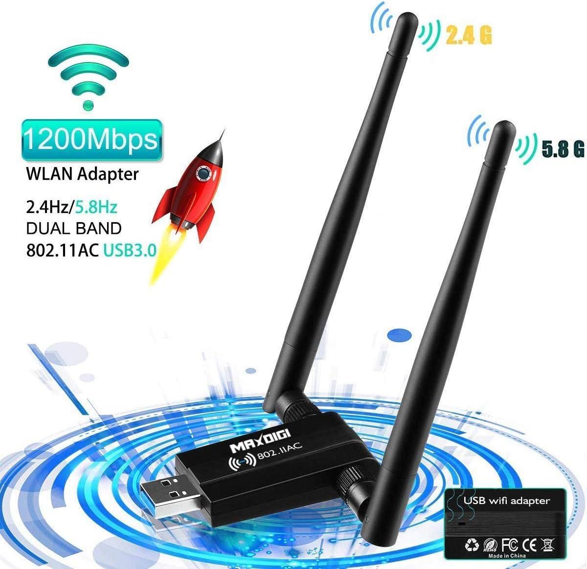 Adaptador inalámbrico USB AC1200 Mbps USB WiFi adaptador de red inalámbrica para PC/escritorio/portátil/tableta 2.4G/5G 5dBi Dual Antena compatible con Windows 10/8 .1/7/Vista/XP, Mac OS, Linux2.6X