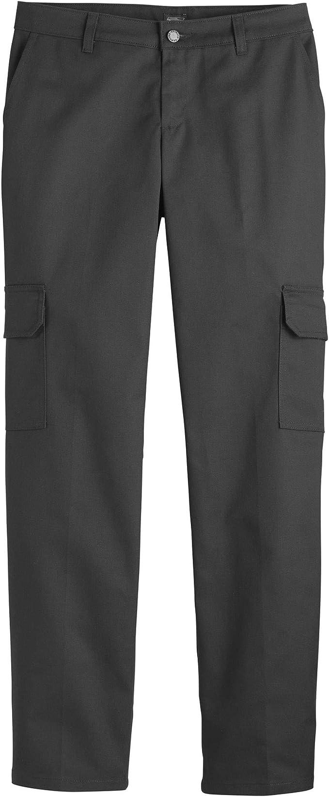 Women's Dickies Straight Leg Stretch Twill Rinsed Black Cargo Pants FP514
