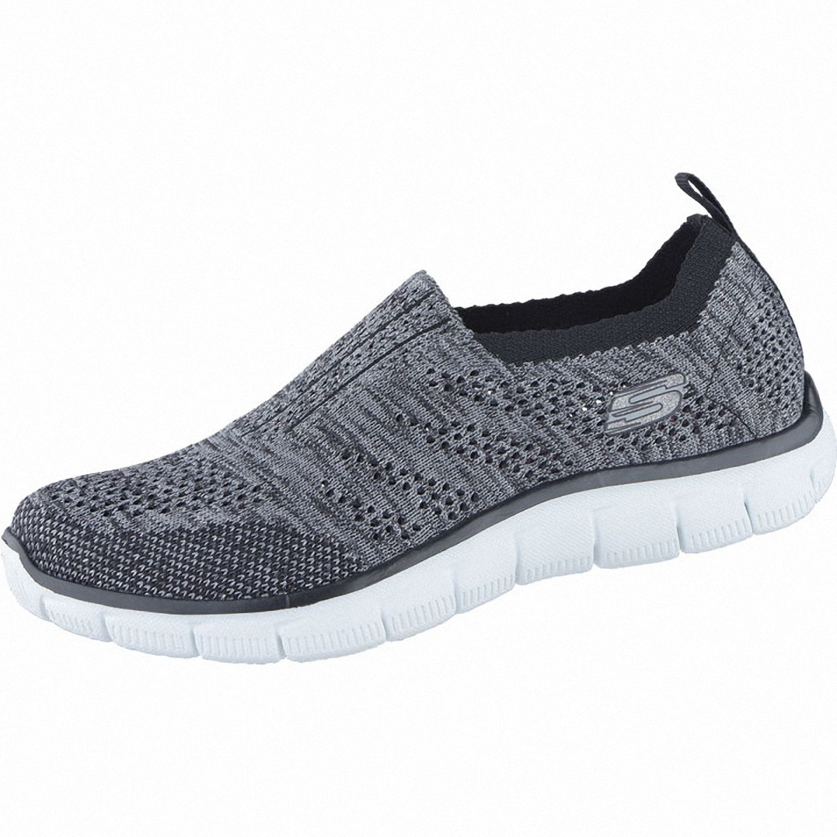 Skechers Round Up Coole Damen Textil Sneakers Black Silver