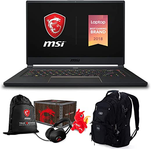 MSI GS65 Stealth Gaming Laptop (Intel 8th Gen i7-8750H, 64GB RAM, 1TB PCIe SSD, 15.6 FHD (1920x1080) 144Hz Thin Bazel, NVIDIA GeForce RTX 2080, Win 10 Pro) with MSI Loot Box and ME2 Backpack