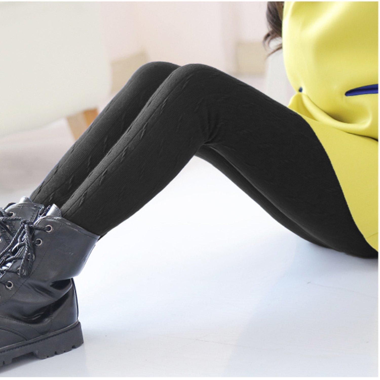 DCOIKO Pants Velvet Skinny Warm Thick Girls Leggings Fleece Lined Elastic Waist Knitting Trousers