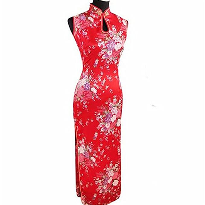 0264fb3a78464 Thytas Fashion Trends Red Chinese Traditional Dress Women Silk Rayon ...