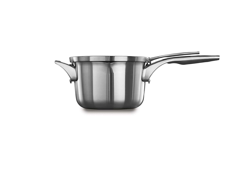 Calphalon Premier Space Saving Stainless Steel 3.5qt Pour & Strain Sauce Pan