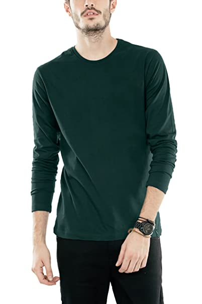 df81ee643dda Bewakoof Men's Cotton Plain Full Sleeve T-Shirts Large Pine Green |  Amazon.com