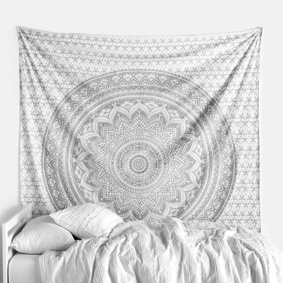 THE ART BOX Indian Mandala Wall Hanging White and Silver Trippy Tapestries Ombre Bedding Mandela Tapesty Psychedelic Vertical Large Indian King Pretty Throw Blanket