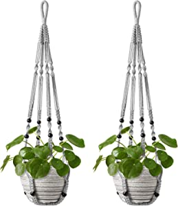 Mkono Macrame Plant Hanger Indoor Hanging Planter Basket with Wood Beads Decorative Flower Pot Holder No Tassels for Indoor Outdoor Boho Home Decor 35 Inch, Grey, Set of 2