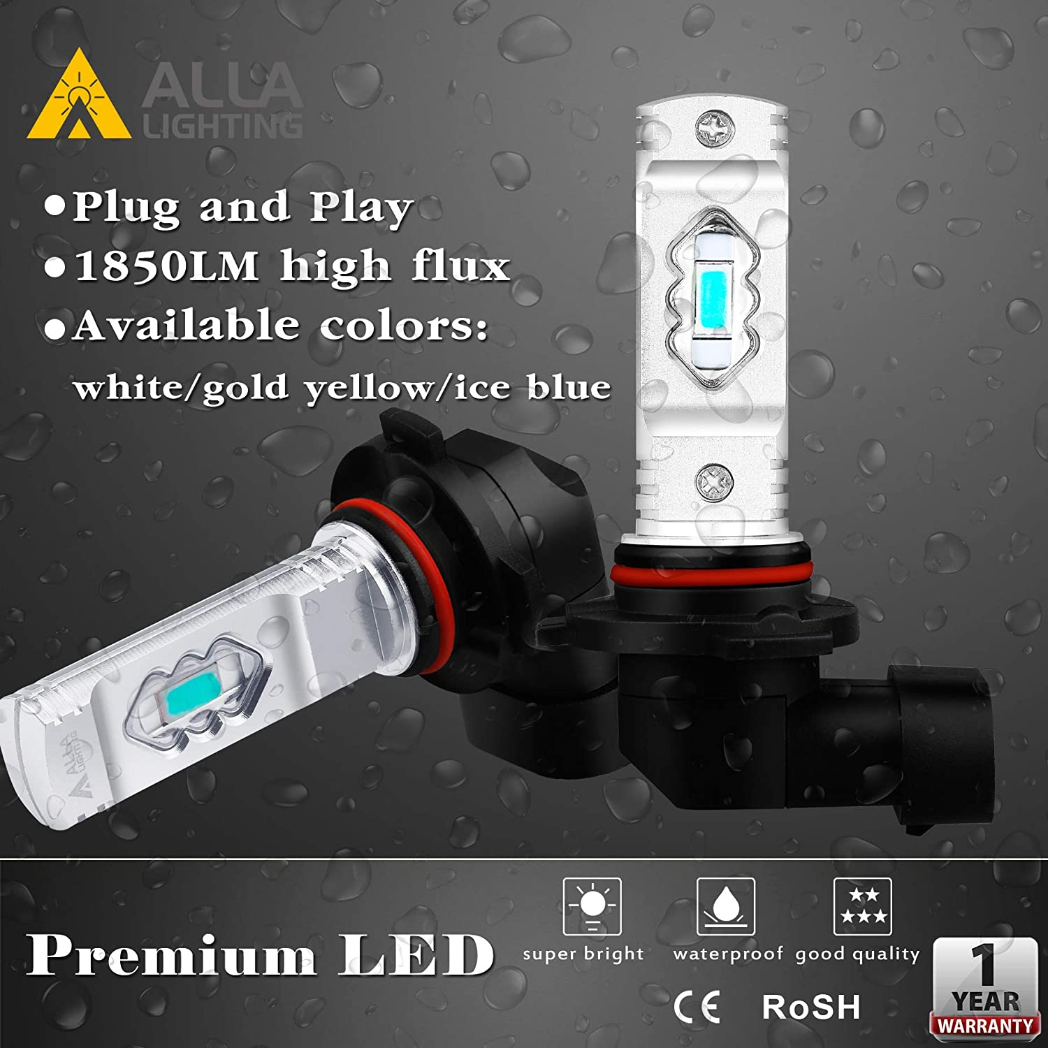 Alla Lighting 3800lm 889 881 LED Fog Light Bulbs Xtreme Super Bright 898 881 LED Bulb ETI 56-SMD LED 881 Bulb for Auto Motorcycle Cars Trucks SUVs Fog DRL Lights Set of 2 3000K Amber Yellow