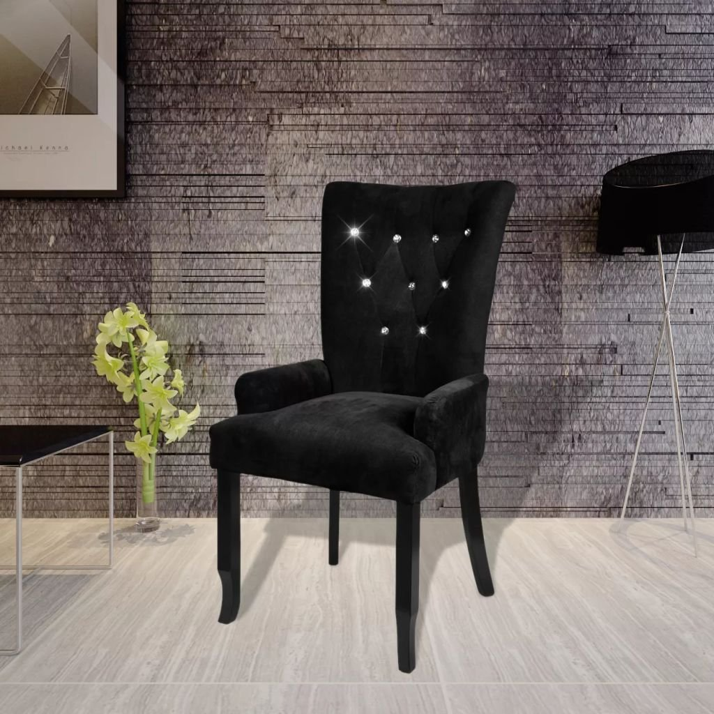WEILANDEAL Sillon con Marco de Madera Color Terciopelo Negro ...
