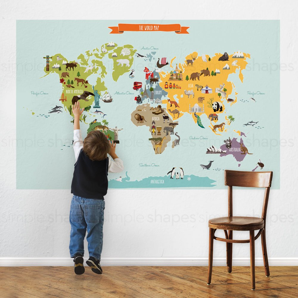 Amazoncom Childrens World Map Poster Wall Sticker Illustrated