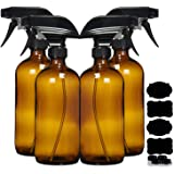Amber Glass Spray Bottles For Cleaning Solutions (4 Pack) - 16 Ounce, Refillable Sprayer for Essential Oil, Water, Kitchen, H