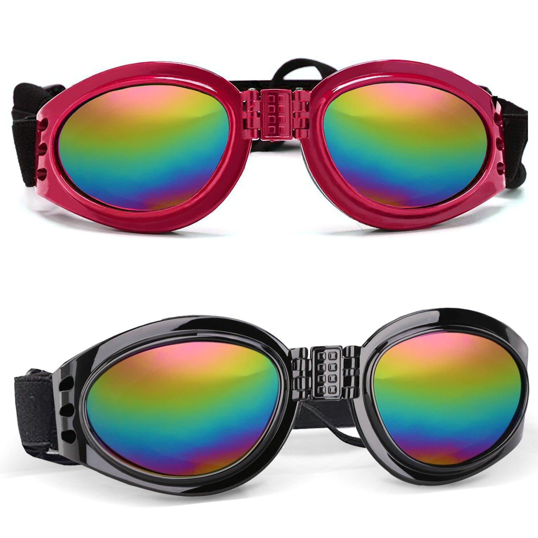 FRETOD Lunettes de soleil chiens - 2 pack Lunettes chien de fashion protection pour chiens Eyewear Protection UV pour Big Dog (noir et rouge)