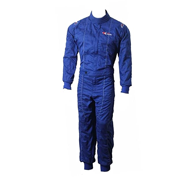 Nuevo Traje de karting para adultos/Carrera/Rally Trajes de una pieza Traje Algodón Poli Mono 3 colores brillantes (azul, S)