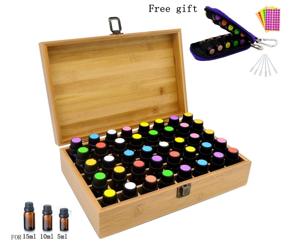 Aromatherapy Essential Oil Wooden Bamboo Storage Box Holds 40 Bottles 5-10-15ML, Fit for Young Living, Pure Body Naturals, doTERRA and others, with Key Chain, Amber Vials, Cap labels, Droppers Essential Mart