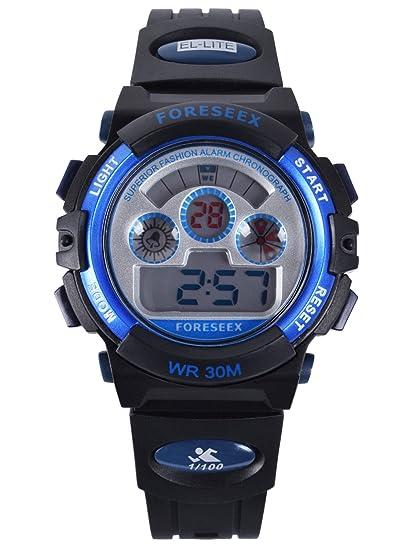 FSX-519G Reloj digital niñas resistente al agua LED reloj de muñeca (azul)