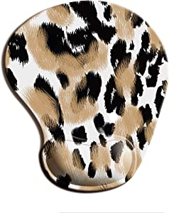 Cute Mouse Pads with Wrist Support,Modern Fashion Superfine Fibre Soft Gel Pad Mat,Non-Slip Rubber Base for Home Office Working Easy Typing & Pain Relief(Leopard Print)