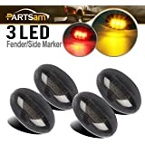Partsam Replacement For Ford F350 F450 F550 1999-2010 LED Side Fender Marker Light Smoked Full Kit Dually Bed Fender Side Mou