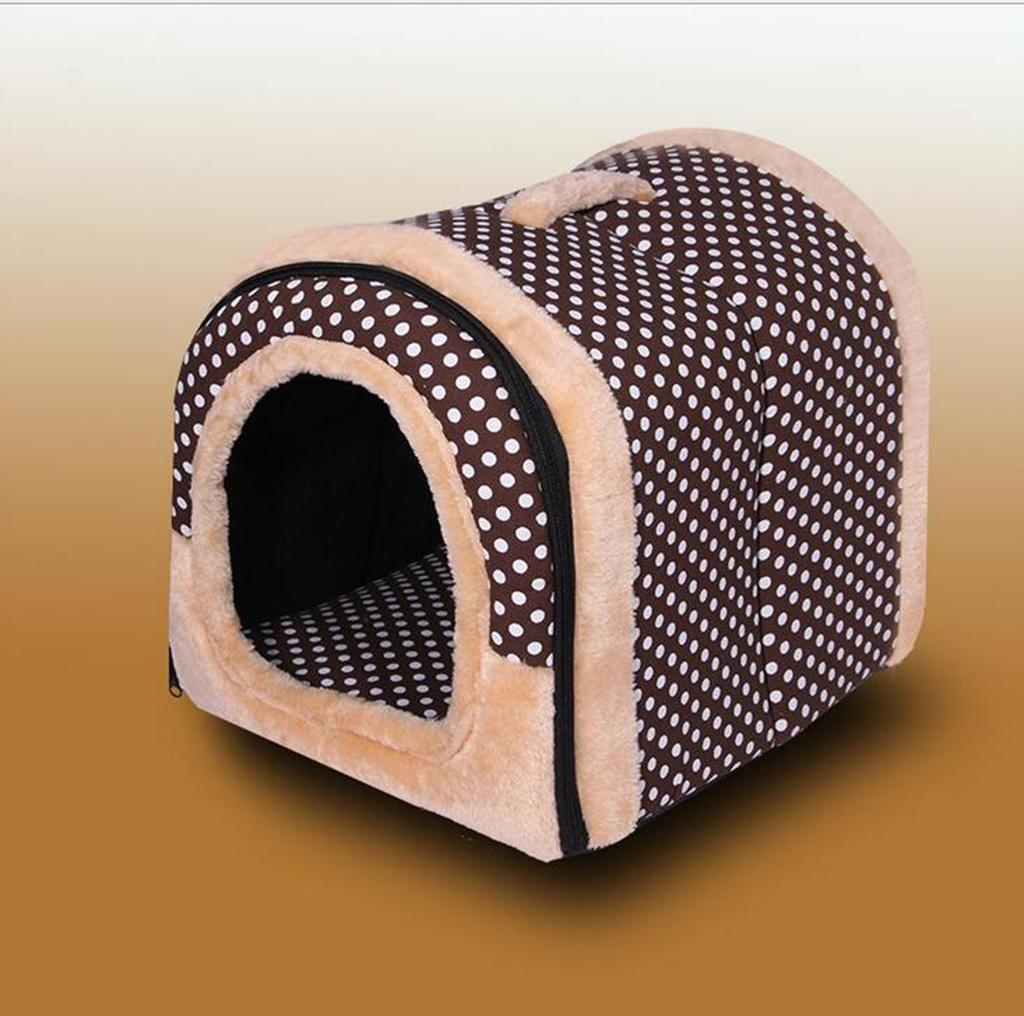 L AN-LKYIQI Pet Waterloo Pet Supplies Four Seasons Universal Brown Dot Detachable Kid's Cats Cat Livestock Pet Bed, L