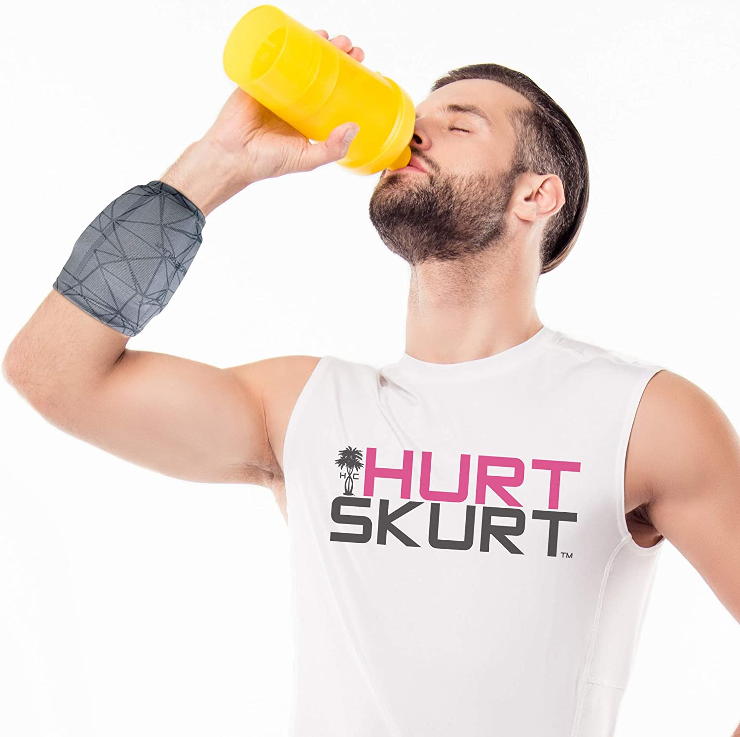 HurtSkurt - 2 in 1 - Harness-Free Fashionable Cold Therapy Compression Gel Sleeve & Ice Pack Stretch-to-Fit Small (Blackout): Health & Personal Care