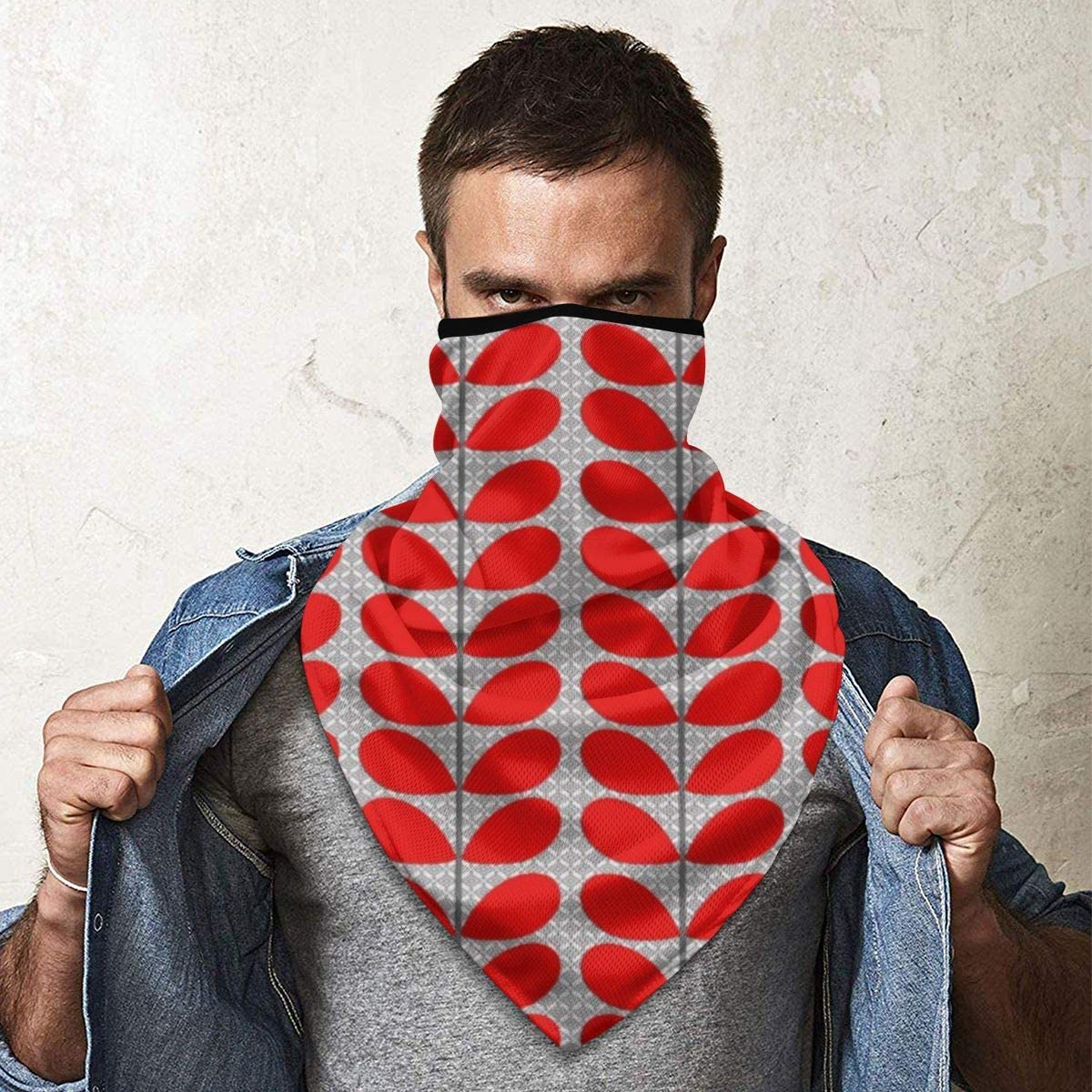 Wind-Resistant Face Mask/& Neck Gaiter,Balaclava Ski Masks,Breathable Tactical Hood,Windproof Face Warmer for Running,Motorcycling,Hiking-Mid Century Danish Leaves Deep Red /& Gray Grey