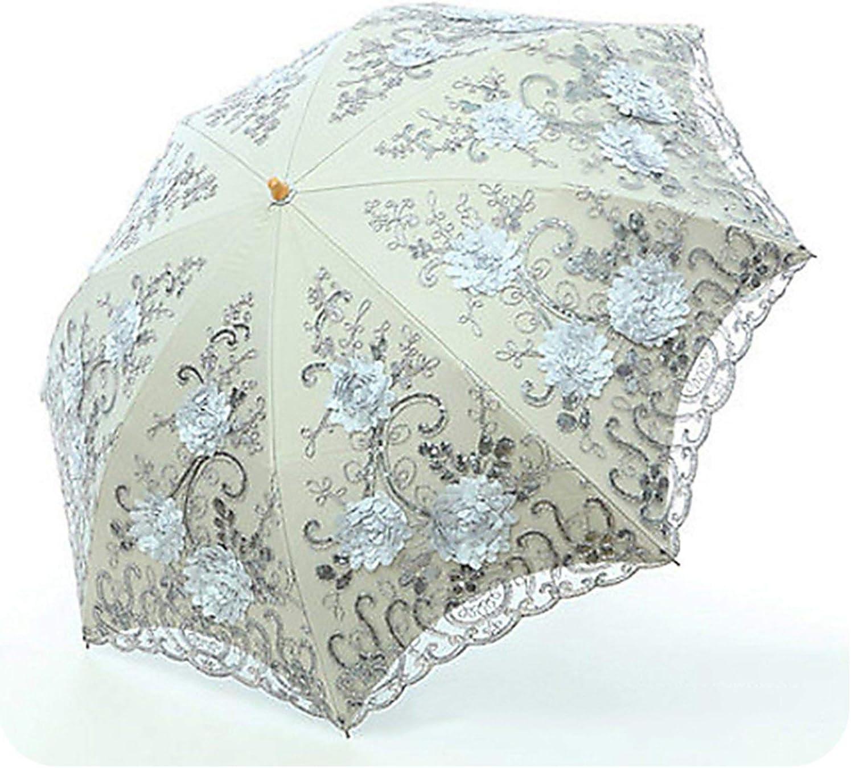 Lace Flower Folding Umbrellas For Women Folding UV Protection Rainy Umbrella Embroider Pink Flower Print Pocket Umbrella,Three-folding 6