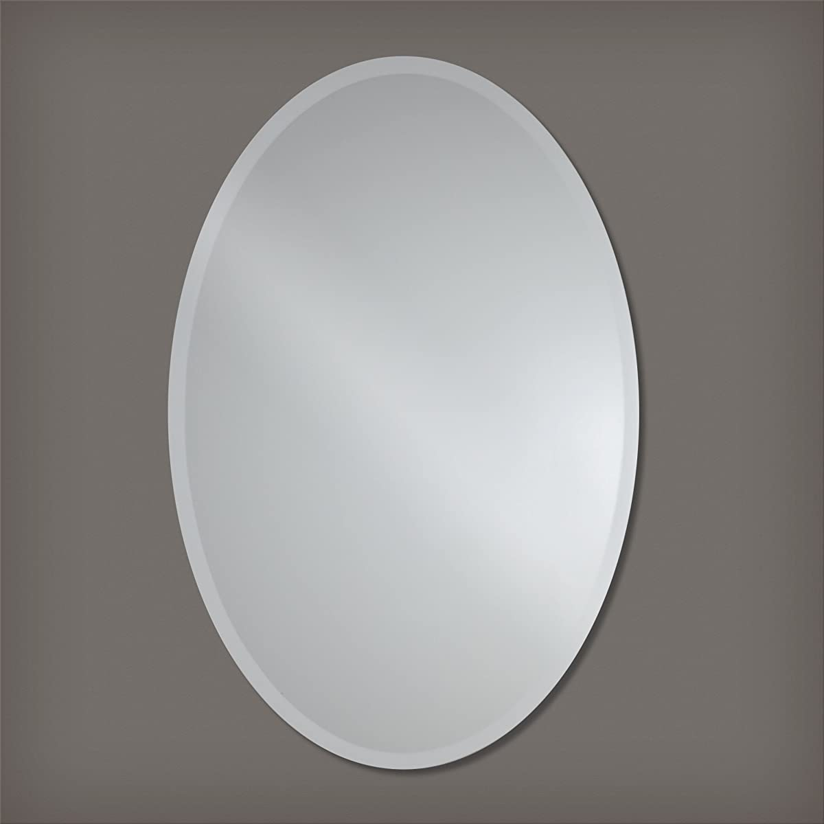 Large Frameless Beveled Oval Wall Mirror | Bathroom, Vanity, Bedroom Mirror | 24-inch x 36-inch