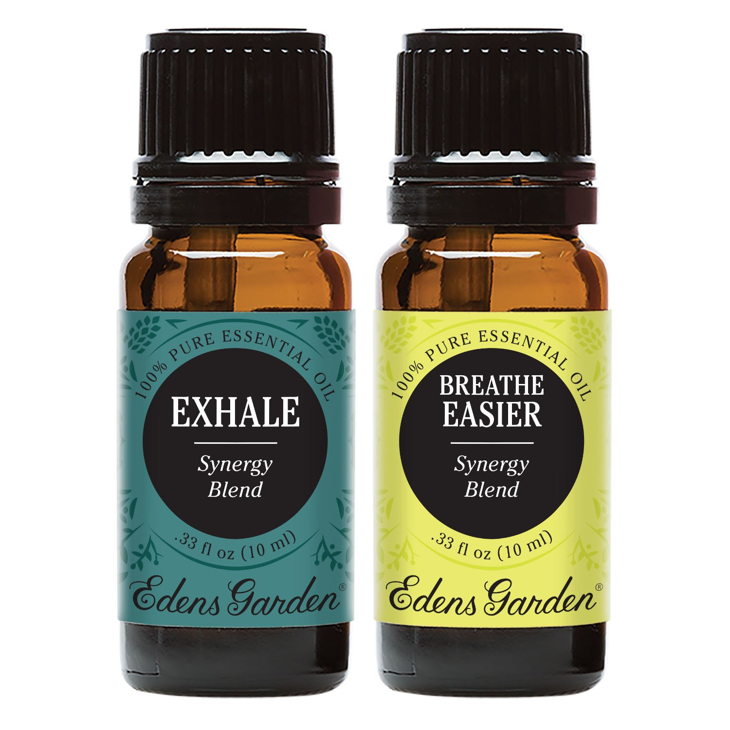 Exhale + Breathe Easier Value Pack 100% Pure Therapeutic Grade Essential Oil by Edens Garden- 2 Set 10 ml