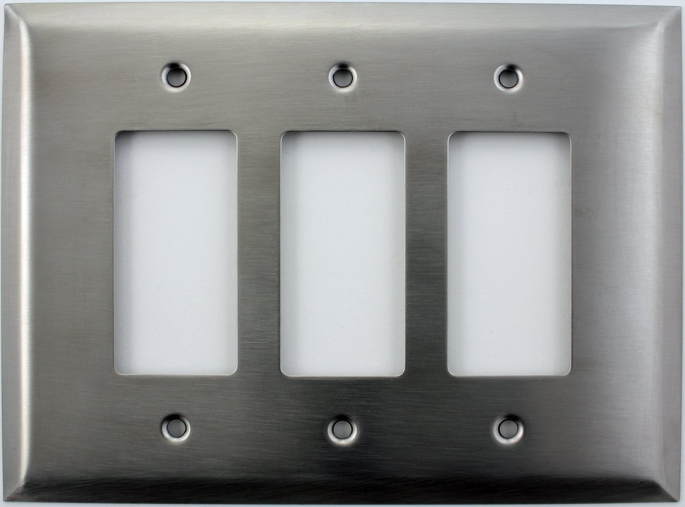 Over Sized Jumbo Satin Stainless Steel Three Gang GFI/Rocker Switch Plate
