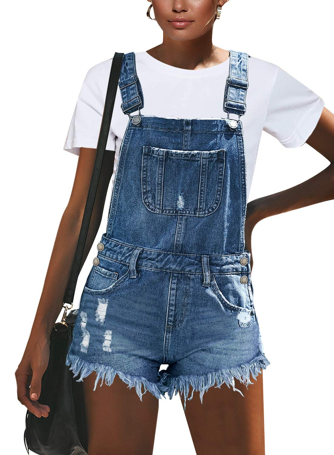 luvamia Women's Ripped Short Overalls Adjustable Stretchy Denim Overall Shorts Romper A-Light Blue Size Medium by luvamia