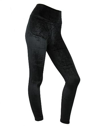 5e35b5a0c58eef Womens Leggings Ladies High Waist Velvet Leggins Plush Evening Velvety Soft Black  Pants: Amazon.co.uk: Clothing