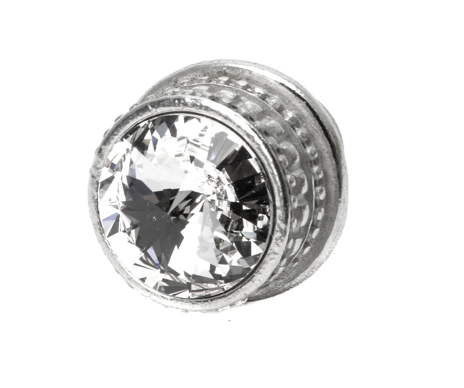 Platinum Carpe Diem Hardware 860-24C Cache Round Knob with 18mm Crystal Made with Swarovski Crystals Medium