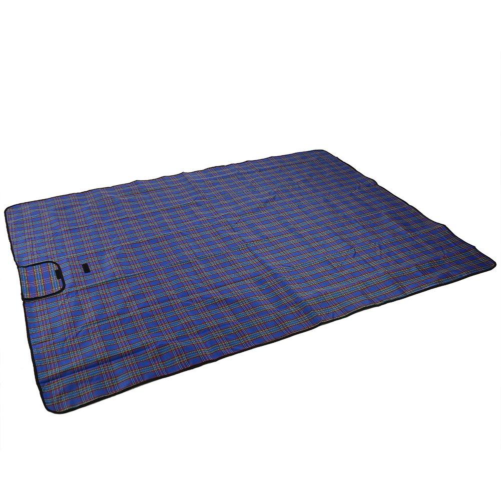 ピクニックマット折り畳み式防水ビーチブランケットハンドル付きアウトドアBBQキャンプ B07B1V66CW  ブルー