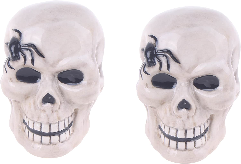 Blue Sky Clayworks Halloween Sugar Skull Salt Pepper Shakers Set Day of Dead NEW
