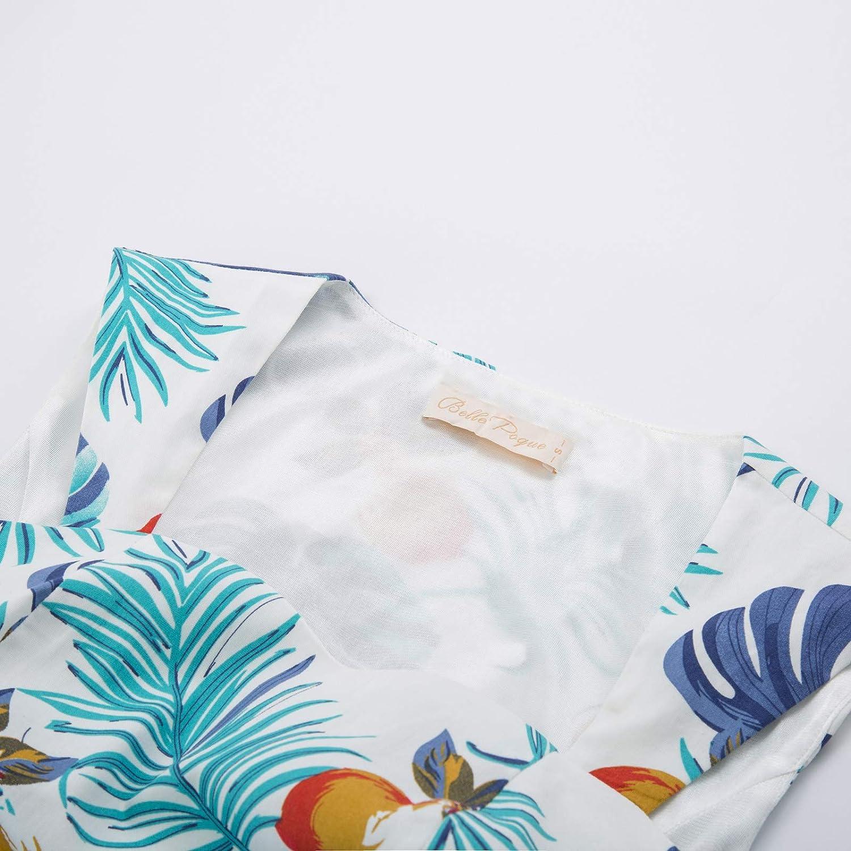 Belle Poque Damen Rockabilly Kleid Knielang Vintage Retro Kleider Faltenrock Swing Kleid Petticoat Partykleid BP2048