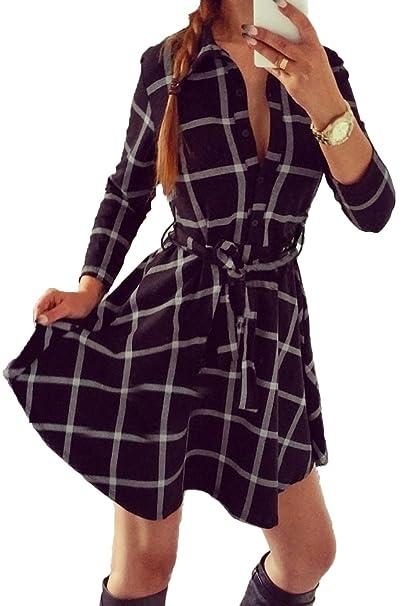 Le Donne D impronta Swing Camicia A Maniche Lunghe Scozzese Vestito   Amazon.it  Abbigliamento 9ff41177692
