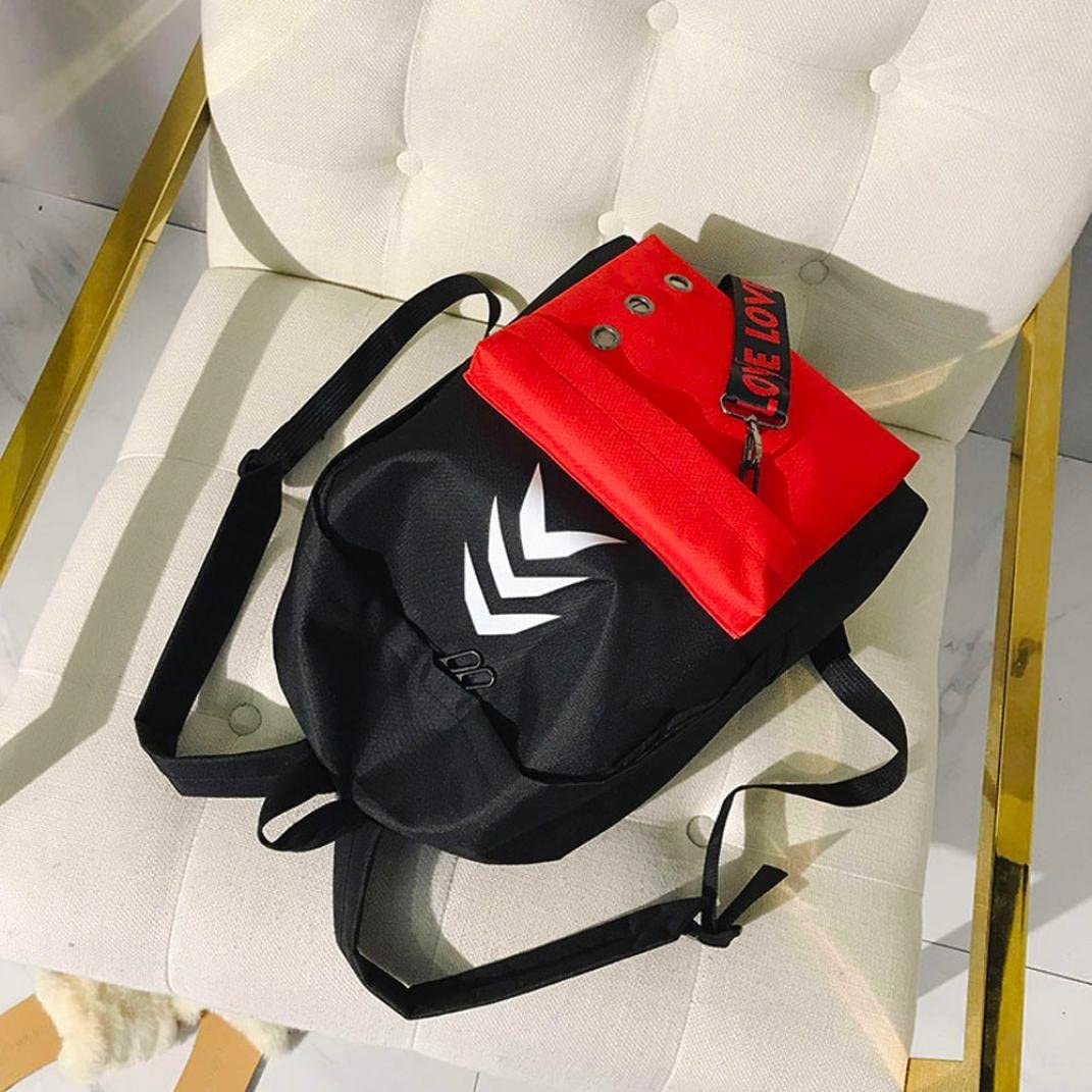 Transer Hit Color Nylon School Backpack Bags Travel Bag Student Bookbag with Purse for Women Teenage Girls Red