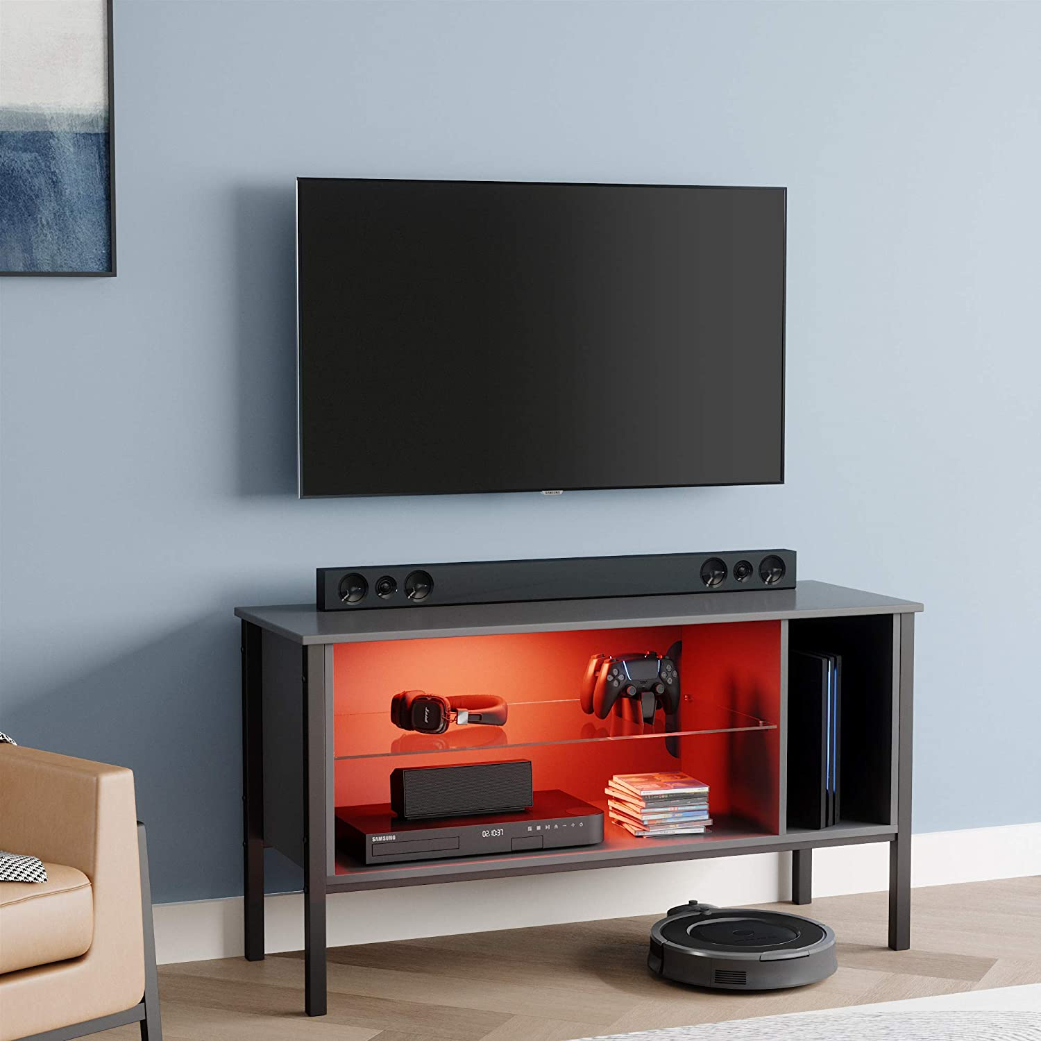 """Bestier 44 inch TV Stand for 50"""" tv,20 Color LED Entertainment Center Modern TV Console Television Media Stands ,TV Cabinet with Storage Drawers and Shelves for Living Room Bedroom Furniture"""