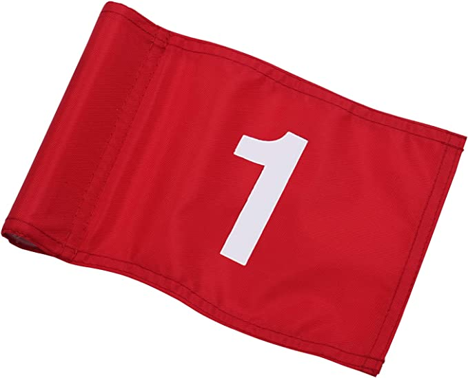 "KINGTOP Numbered Golf Flag with Tube Inserted, All 8"" L x 6"", Putting Green Flags for Yard, 420D Nylon Mini Pin Flags"