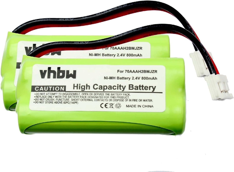 Set x 2 baterías vhbw 800mAh para teléfono Fijo inalámbrico Motorola S804, T31, T3101, T3151